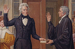 President Jackson being sworn into office